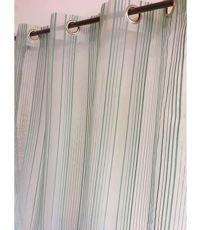 Voilage rayé transparent avec rauyure velours vert clair