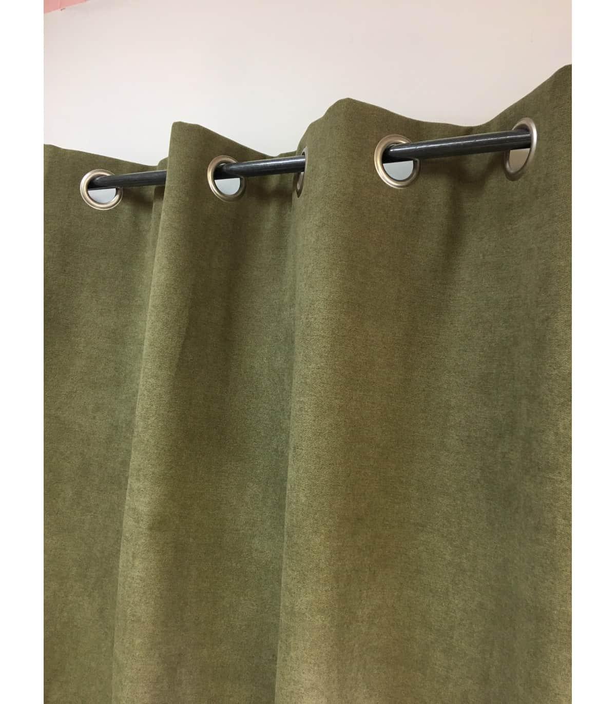 rideau vert olive uni phonique isolant