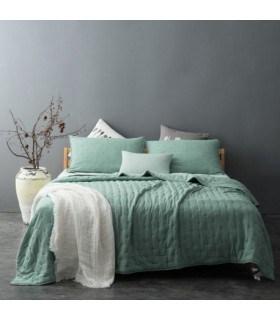 Jeté de lit capitonné style lin lavé