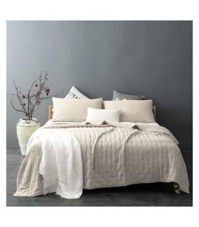 Jeté de lit écru capitonné style lin lavé