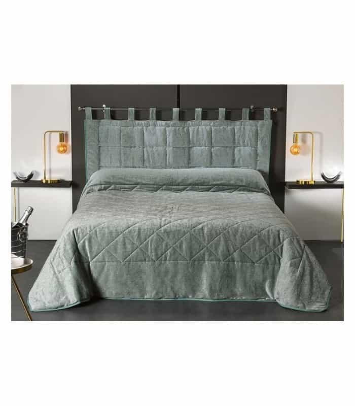Jeté de lit matelassé velours celadon