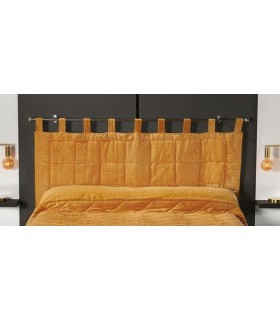 Tête de lit matelassée à brides moutarde