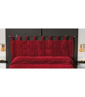 Tête de lit matelassée à brides rouge