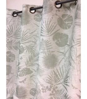 Rideau tamisant motif tropical vert