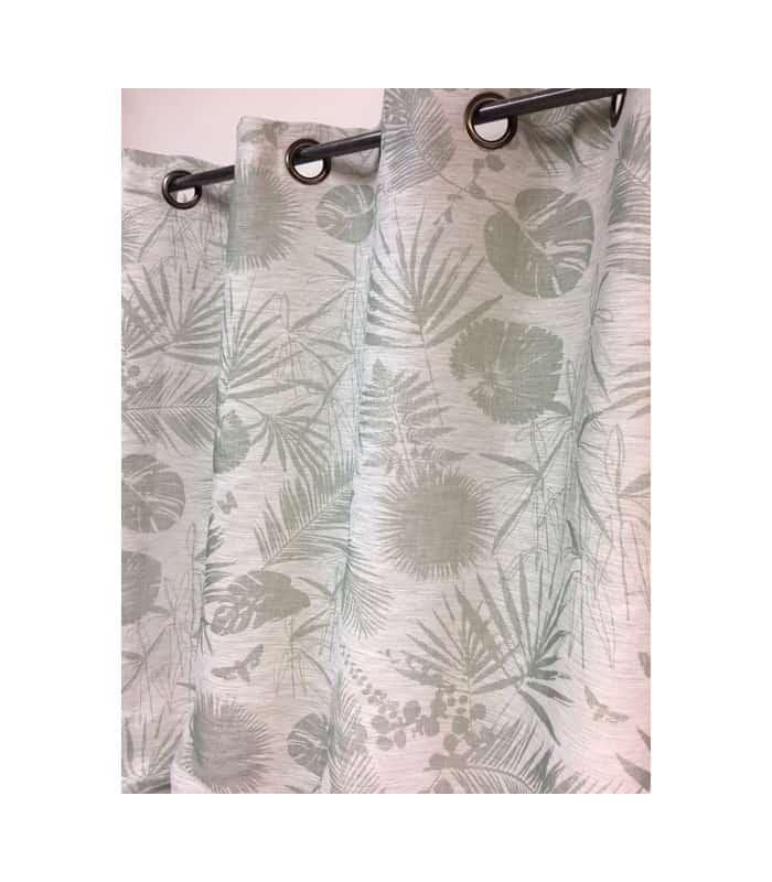 rideau tamisant avec motif tropical vert. Black Bedroom Furniture Sets. Home Design Ideas