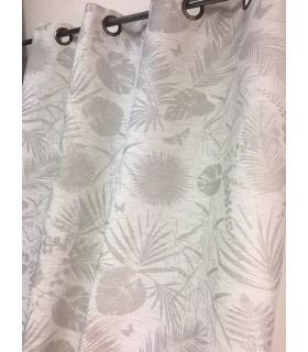 Rideau tamisant motif tropical gris