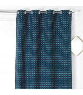 Rideau tendance motif triangle bleu