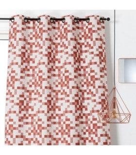 Rideau ambiance géométrique motif tetris