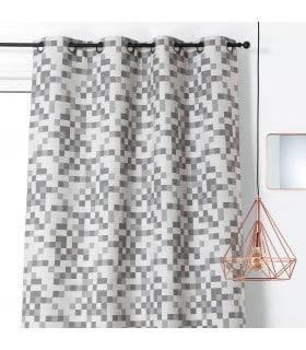 Rideau tendance motif tetris gris