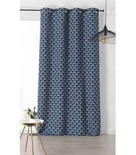 Rideau motif vintage bleu