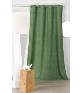Rideau isolant et phonique velours vert