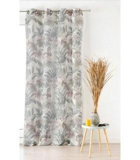 Voilage ambiance tropicale motif feuille exotique vintage