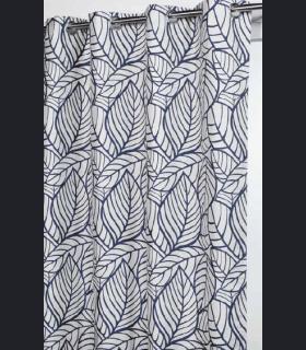 Rideau motif feuillage bleu