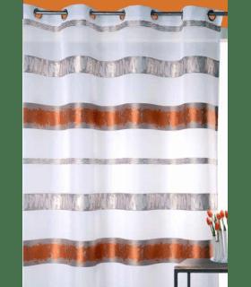 Voilage bandes jacquard bicolores horizontales rouille