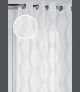 Voilage jacquard ondes verticales en fil argent