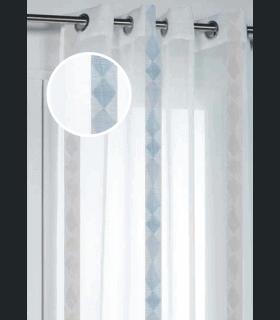 Voilage rayures verticales motifs abstraits gris bleu