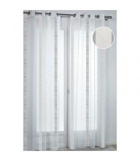 Voilage rayures verticales motifs abstraits gris blanc