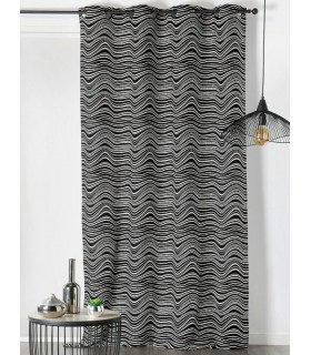 Rideau motif courbe design ondulée noir