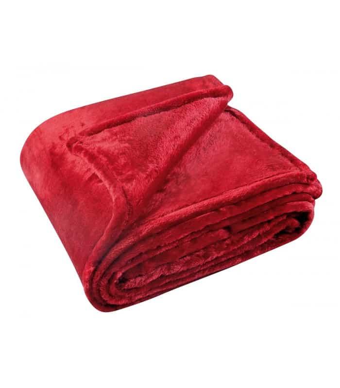 Couverture polaire uni rouge