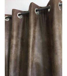 Rideau aspect faux cuir usé chocolat