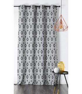 Rideau recyclé motif losange géométrique gris anthracite