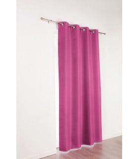 Rideau 100% occultant aspect tissé brillant violet framboise