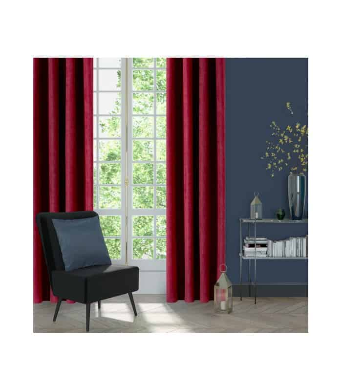 Rideau bordeaux aspect velours
