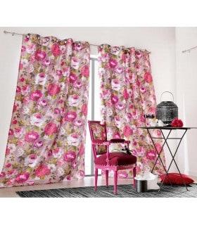 Rideau vintage motif fleur rose