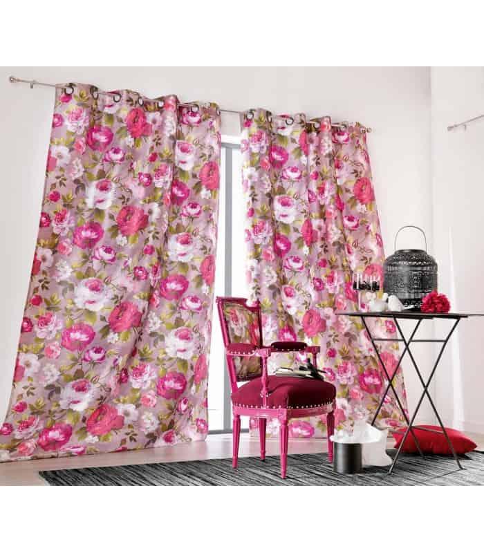 Rideau vintage motif rose