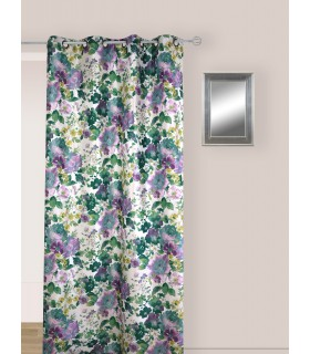 Rideau vintage motif fleur violette