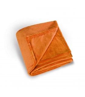 Plaid microfibre polaire uni orange