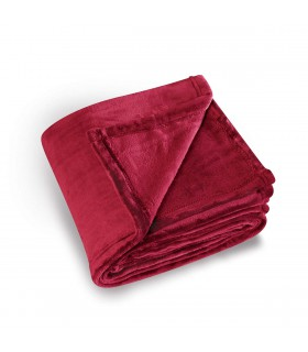 Plaid microfibre polaire uni rouge