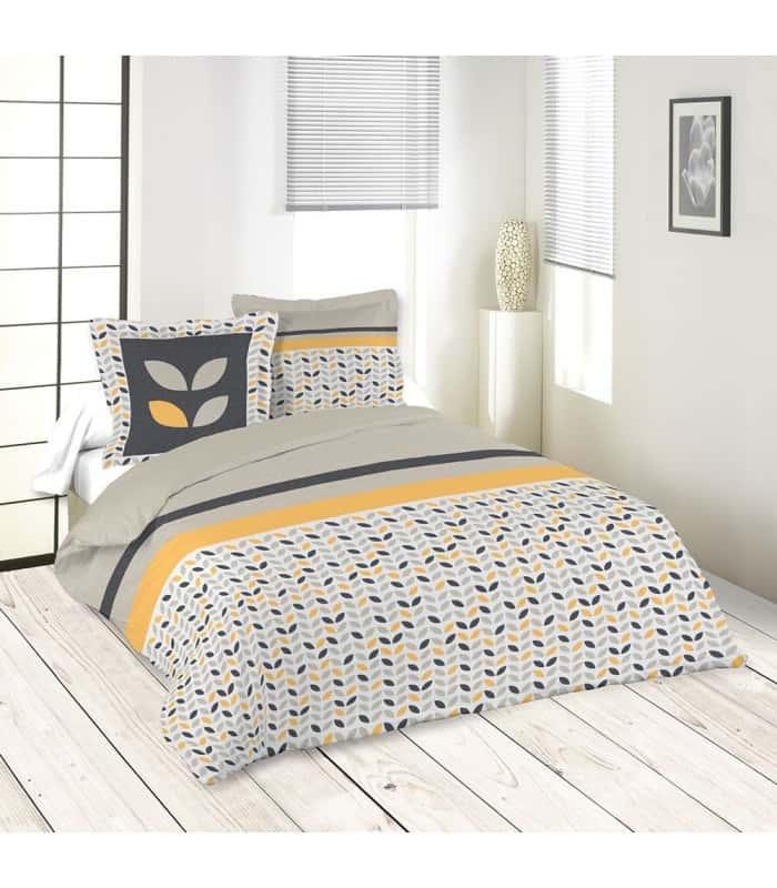 housse de couette motif vintage feuille moutarde. Black Bedroom Furniture Sets. Home Design Ideas