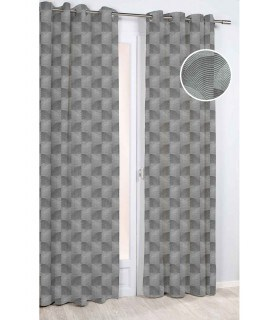 Rideau motif coquillage géométrique gris