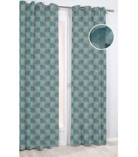 Rideau motif coquillage géométrique vert