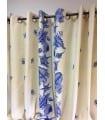 Rideau Coquillage bleu et blanc cassé x2