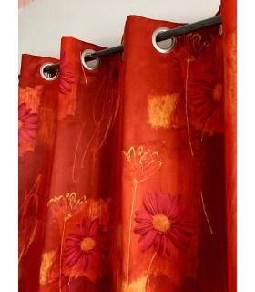 Rideau imprimé satin fleur marguerite