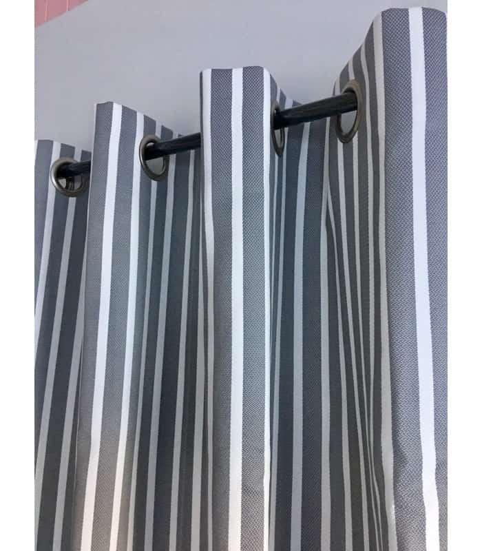 Rideau extérieur rayé gris