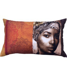 Coussins portrait de femme africaine chocolat
