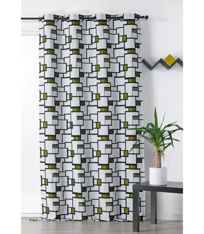 Rideau  vert contemporain style MONDRIAN