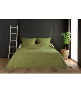 Jeté de lit vert tilleul capitonné style boutis