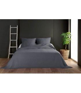 Jeté de lit gris anthracite capitonné style boutis