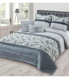 Dessus de lit épais avec rayures et plumes grises