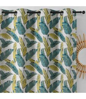 Rideau moderne et originale motif plumes vertes