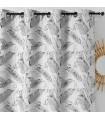 Rideau moderne et originale motif plumes grises