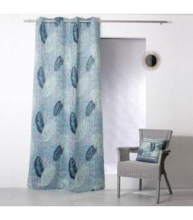 Rideau occultant motif végétal bleu