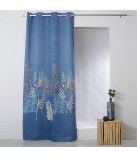 Rideau occultant motif fleur des champs bleu