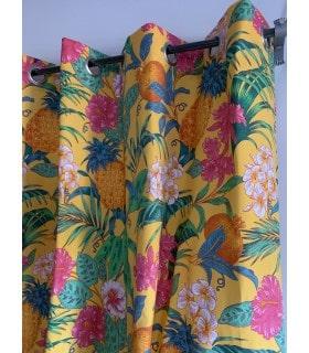 Rideau imprimé tropical jaune
