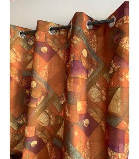 Rideau imprimé géometrique cubique marron