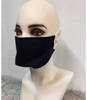 Masque protection tissu noir (lot de 4) élastique